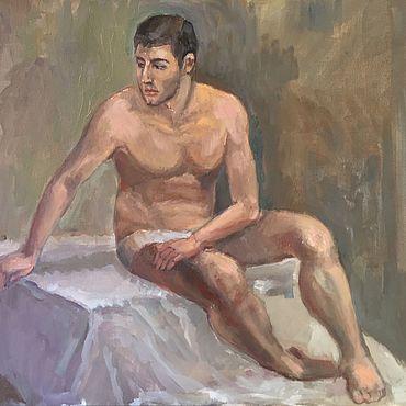 Картины и панно ручной работы. Ярмарка Мастеров - ручная работа Молодой человек.(60-50). Handmade.