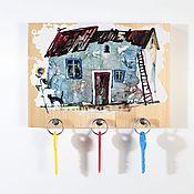 """Для дома и интерьера handmade. Livemaster - original item Деревянная ключница """"Домик с подсолнухом"""". Handmade."""