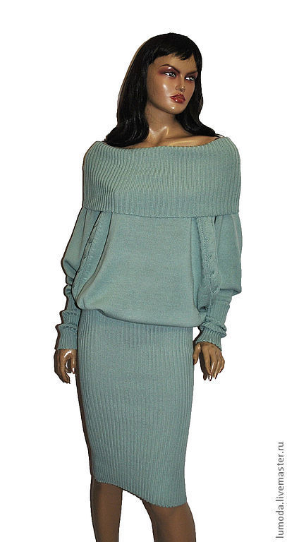 Платья ручной работы. Ярмарка Мастеров - ручная работа. Купить Платье вязаное. Handmade. Тёмно-бирюзовый, летучая мышь