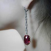 Украшения handmade. Livemaster - original item Earrings with red spinel. 925 sterling silver. Handmade.