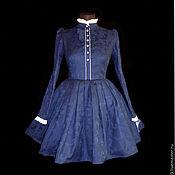 Платья ручной работы. Ярмарка Мастеров - ручная работа на Заказ Платье винтажное т синий жаккард. Handmade.