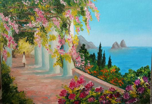 Картина маслом `Цветущий сад`