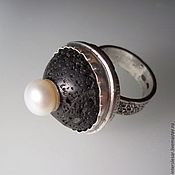 Rings handmade. Livemaster - original item Ring with lava and pearls. Handmade.