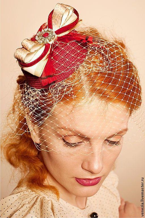 """Шляпы ручной работы. Ярмарка Мастеров - ручная работа. Купить шляпка-таблетка """"Гранатовый бисквит"""". Handmade. Шляпка, весна, скачки"""