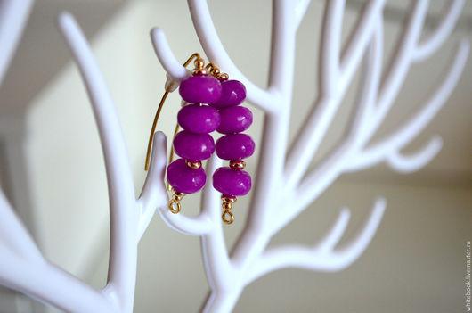 """Серьги ручной работы. Ярмарка Мастеров - ручная работа. Купить Серьги позолота, пурпурный кварц, """"Purple"""". Handmade. Фиолетовый"""