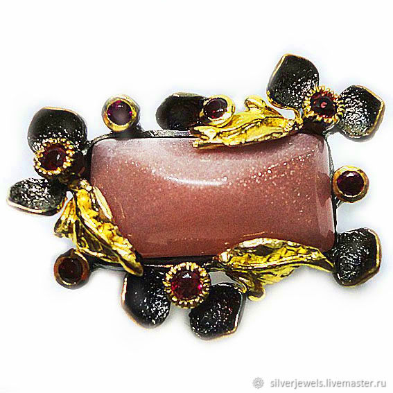 Brooch handcrafted natural terracotta aventurine, Brooches, Moscow,  Фото №1