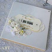 Свадебный салон ручной работы. Ярмарка Мастеров - ручная работа Свадебная открытка поздравление в сумочке арт№001. Handmade.