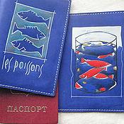 Подарки к праздникам handmade. Livemaster - original item ALMOST MATISSE, FISHES, passport cover. Handmade.