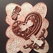 """Открытки ручной работы. Ярмарка Мастеров - ручная работа Открытка -валентинка """"Сердечки и бабочки"""". Handmade."""