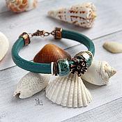 """Украшения ручной работы. Ярмарка Мастеров - ручная работа """"Океан"""" браслет регализ. Авторская фурнитура, керамика, кожа. Handmade."""