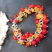 """Украшения ручной работы. Ярмарка Мастеров - ручная работа Браслет """"Клюква в меду"""" коралл, янтарь. Handmade."""