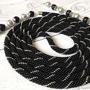 Украшения handmade. Livemaster - original item Black Lariat with a strip. Handmade.