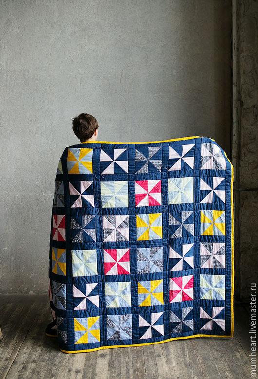 """Текстиль, ковры ручной работы. Ярмарка Мастеров - ручная работа. Купить Лоскутное одеяло """"Мельницы"""". Handmade. Тёмно-синий, теплое"""