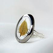 Украшения handmade. Livemaster - original item Transparent ring with a real leaf Oval ring titanium. Handmade.