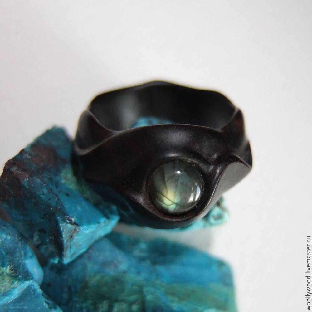 Кольцо деревянное из эбена с лабрадором, Украшения, Псков, Фото №1