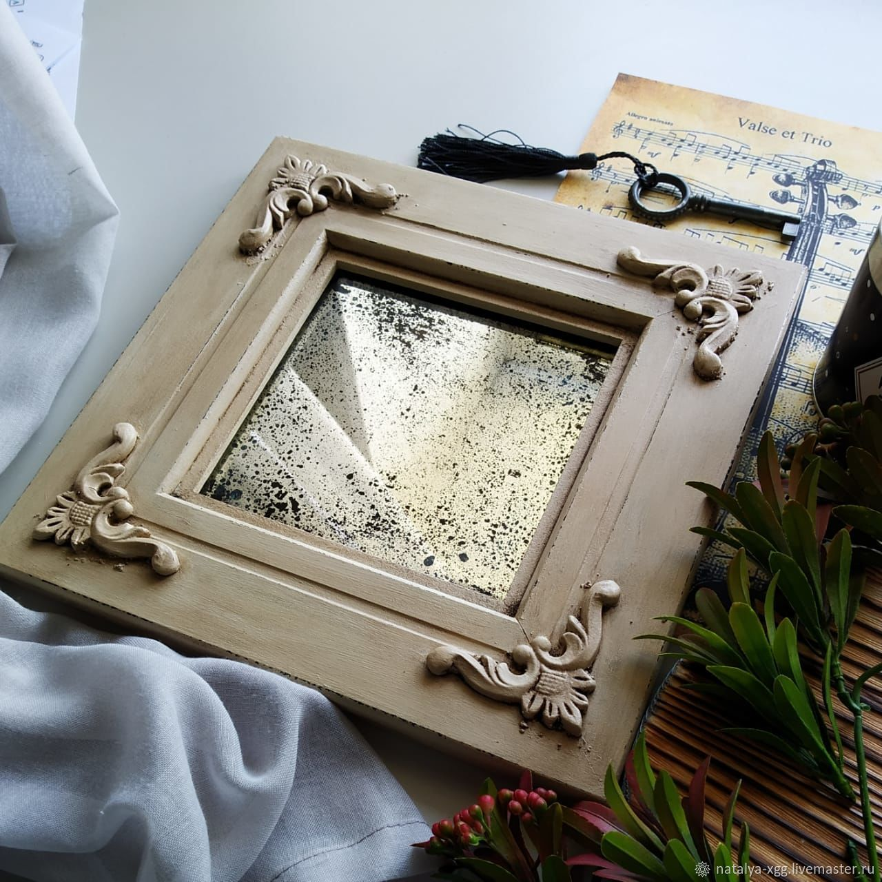 Состаренное зеркало в раме под винтажный стиль, Зеркала, Барнаул,  Фото №1