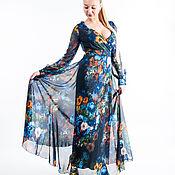 Одежда ручной работы. Ярмарка Мастеров - ручная работа Цветочное шифоновое платье в пол. Handmade.
