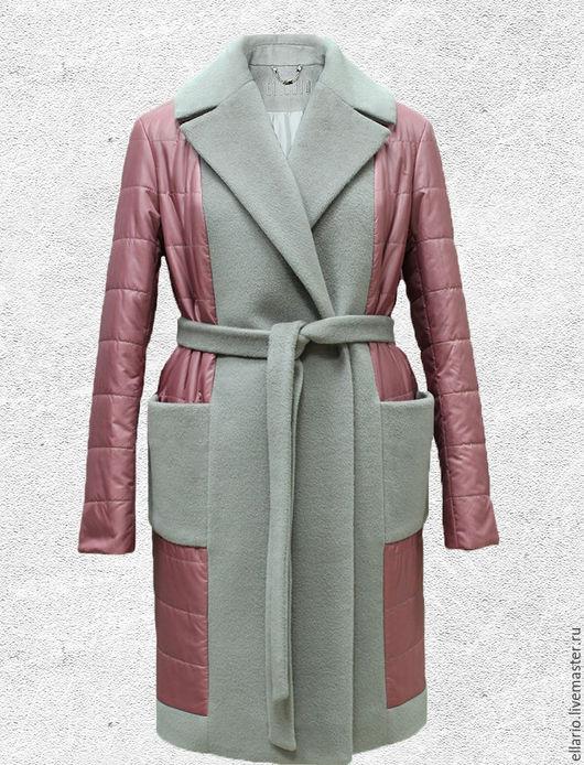 Верхняя одежда ручной работы. Ярмарка Мастеров - ручная работа. Купить Пальто-пуховик на синтепоне с вышивкой. Handmade. Розовый