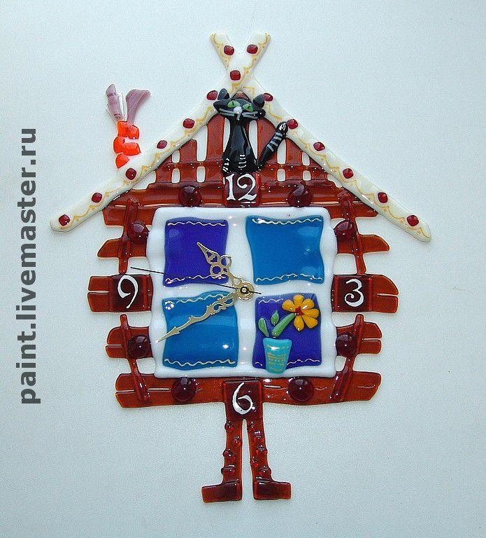 Clocks handmade. Livemaster - handmade. Buy Wall clock Hut on chicken legs, fusing.Watch, interior design