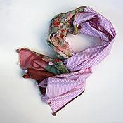 Аксессуары handmade. Livemaster - original item scarf. Silk, cotton, roses, pink rim. Handmade.