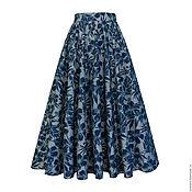 Одежда ручной работы. Ярмарка Мастеров - ручная работа Юбка-солнце Midnight flower 80 см с карманами. Handmade.