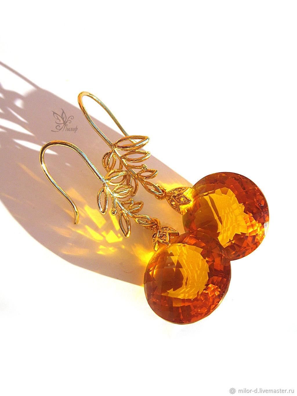 """Серьги ручной работы. Ярмарка Мастеров - ручная работа. Купить Серьги """"Солнце"""". Цитрин, позолота. Handmade. Солнце, золотой, драгоценности"""