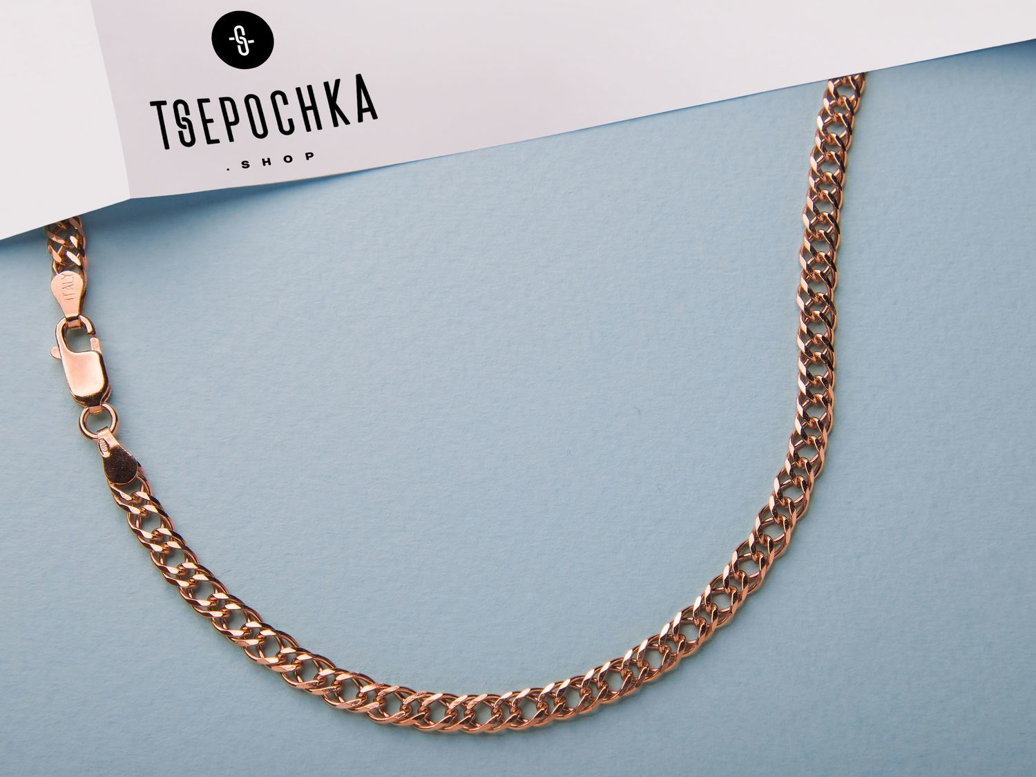 GOLD-PLATED CHAIN ' Double rhombus 8 faces', Chain, Vladimir,  Фото №1