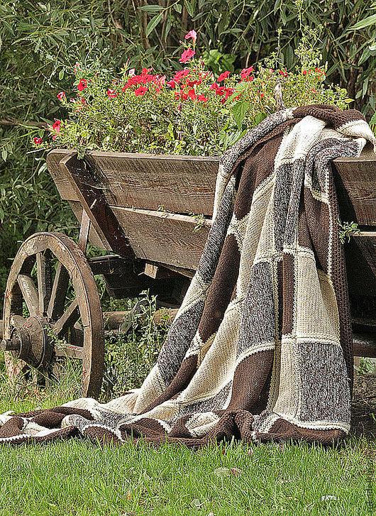 """Текстиль, ковры ручной работы. Ярмарка Мастеров - ручная работа. Купить Вязаный плед """"Принц Гарри"""". Handmade. Коричневый"""