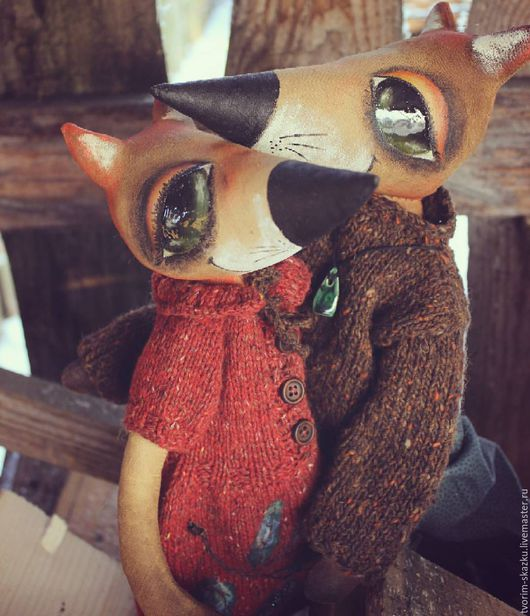 """Коллекционные куклы ручной работы. Ярмарка Мастеров - ручная работа. Купить Лисички """"Ветер в ивах"""". Handmade. Рыжий, кофе натуральный"""