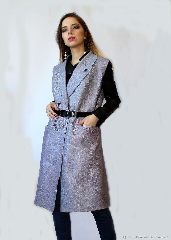 Grey felted coat sleeveless!!!, Coats, Verhneuralsk, Фото №1