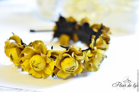 Цветы ручной работы. Ярмарка Мастеров - ручная работа. Купить Цветы из кожи. Ободок с Розами мини. Handmade. Кожа натуральная
