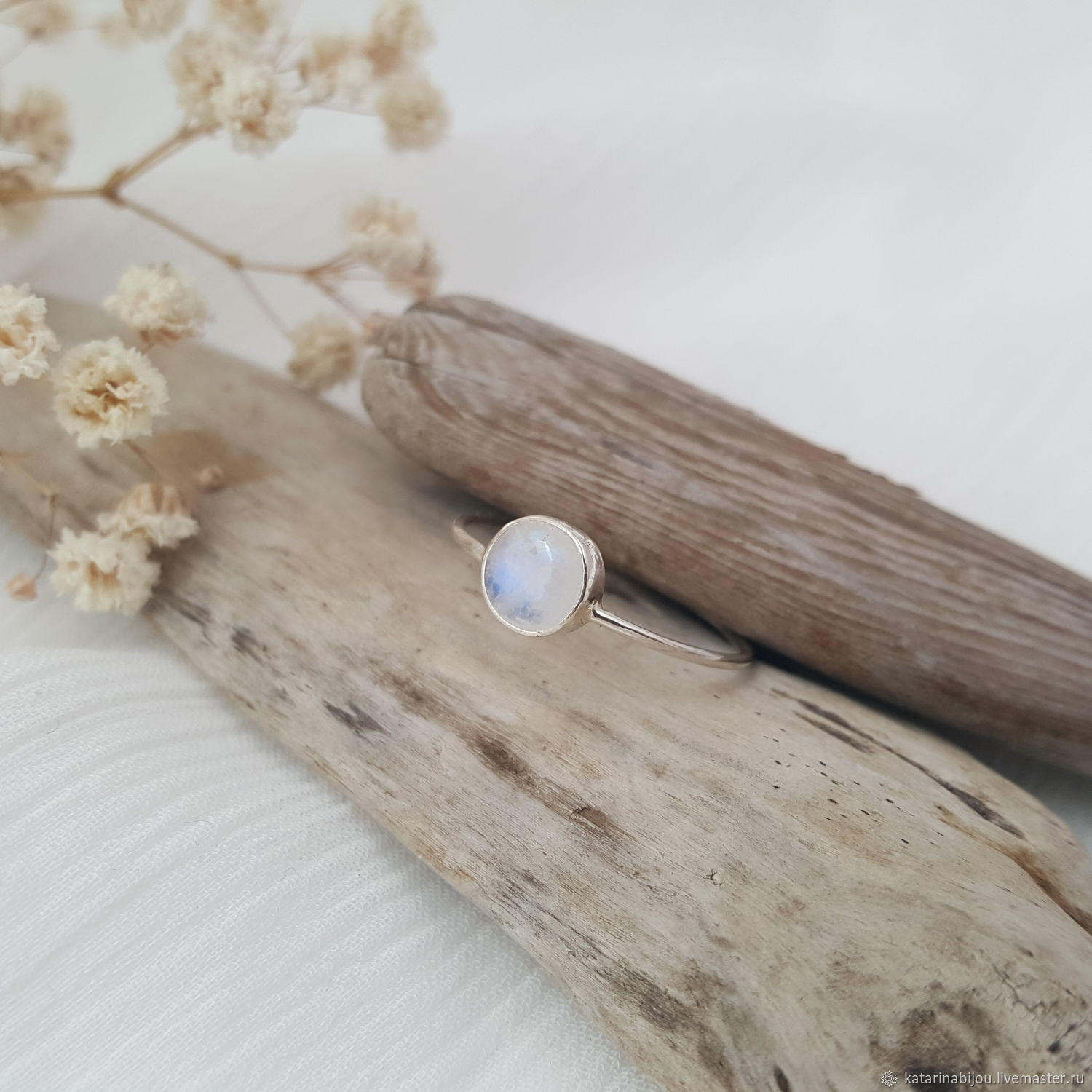 Silver Ring with moonstone, Rings, St. Petersburg,  Фото №1