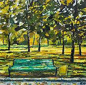 Картины и панно ручной работы. Ярмарка Мастеров - ручная работа Картина маслом осень пейзаж «Встречаемся на зеленой скамейке». Handmade.
