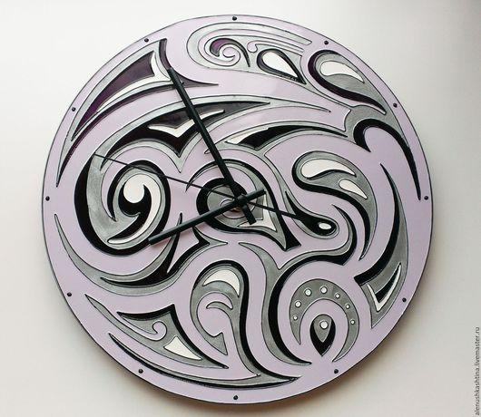 Часы для дома ручной работы. Ярмарка Мастеров - ручная работа. Купить Часы настенные «Фиолет». Handmade. Часы, Роспись по стеклу