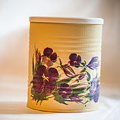 Для дома и интерьера handmade. Livemaster - original item Jar decoupage Violets. Handmade.