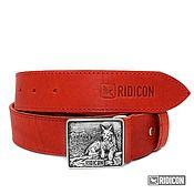 Аксессуары handmade. Livemaster - original item Red belt with lynx buckle. Handmade.