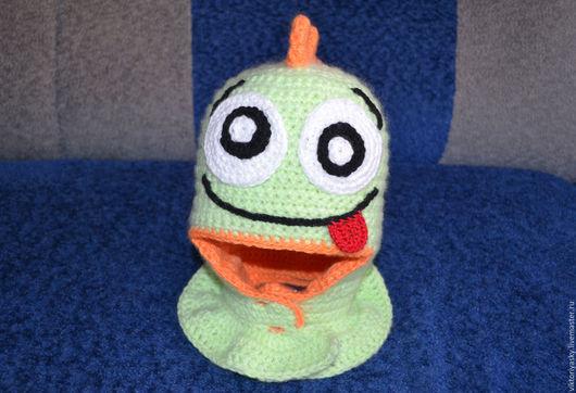 Шапки и шарфы ручной работы. Ярмарка Мастеров - ручная работа. Купить Шапка-шлем веселый динозаврик. Handmade. Салатовый, зверошапка