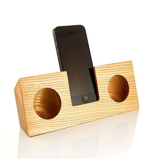 Для телефонов ручной работы. Ярмарка Мастеров - ручная работа. Купить Аудио подставка для iPhone (ясень). Handmade. Аудио, booratino