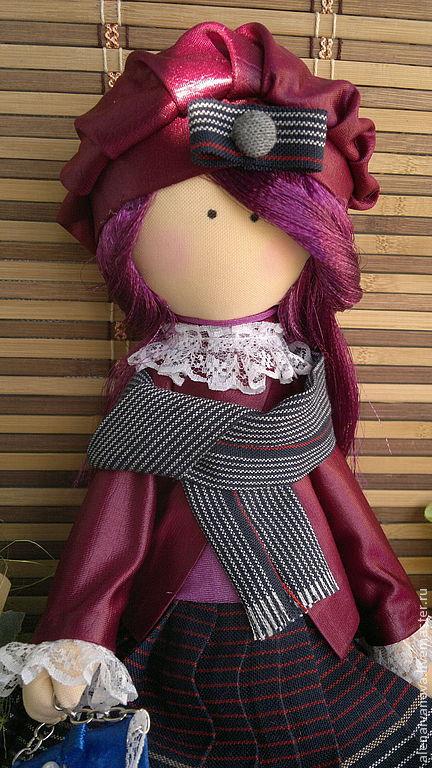 Человечки ручной работы. Ярмарка Мастеров - ручная работа. Купить Кукла Снежка. Handmade. Бордовый, снежная девочка, кружева