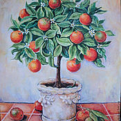 Картины и панно handmade. Livemaster - original item Orange tree(copy of the painting Alexandra Churchill. Handmade.