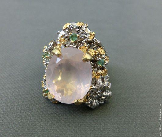 """Кольца ручной работы. Ярмарка Мастеров - ручная работа. Купить 18 р-р кольцо """"Паучок"""" розовый кварц, изумруд серебро 925 золото. Handmade."""
