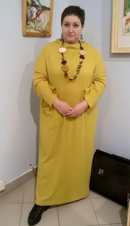 Большие размеры ручной работы. Ярмарка Мастеров - ручная работа. Купить Платье  трикотажное горчичное бохо. Handmade. Оранжевый, трикотаж
