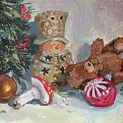 """Картины и панно ручной работы. Ярмарка Мастеров - ручная работа Картина маслом """"Елочные игрушки"""". Handmade."""