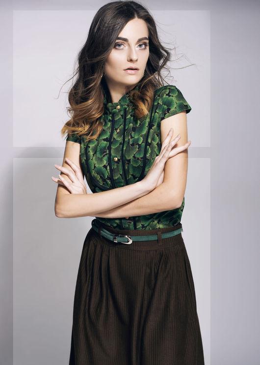 """Блузки ручной работы. Ярмарка Мастеров - ручная работа. Купить Зелёная блузка """"Fortune"""". Handmade. Зеленый, блуза, блузка с принтом"""
