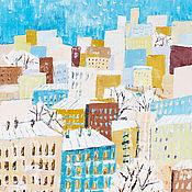 Картины и панно ручной работы. Ярмарка Мастеров - ручная работа Картина масло зима пейзаж «Город». Handmade.