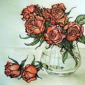 Картины и панно handmade. Livemaster - original item Graphics Bouquet of roses. Handmade.
