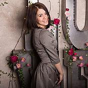 Одежда ручной работы. Ярмарка Мастеров - ручная работа Красивое коричневое платье из жаккарда/ платье на каждый день/ платье. Handmade.