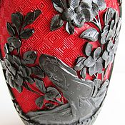 Винтаж handmade. Livemaster - original item Vintage vase red, Chinese lacquer, two tone. Handmade.