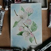 Открытки ручной работы. Ярмарка Мастеров - ручная работа Яблоня в цвету. Открытка акварелью. Handmade.