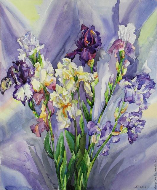 Картины цветов ручной работы. Ярмарка Мастеров - ручная работа. Купить Ирисы-1. Handmade. Комбинированный, акварельные цветы